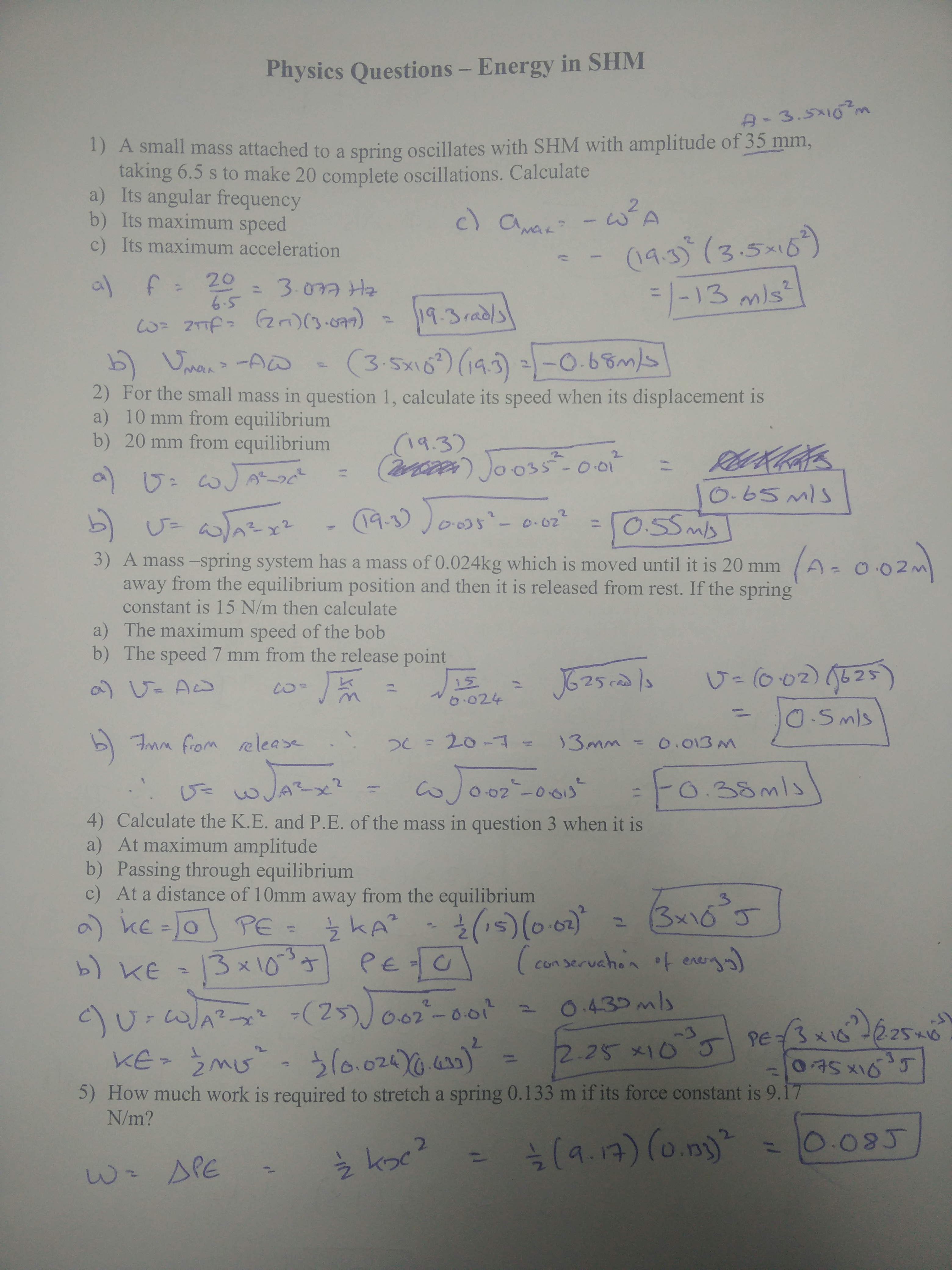M5 Answers to Energy in SHM Worksheet | physics@bcceip