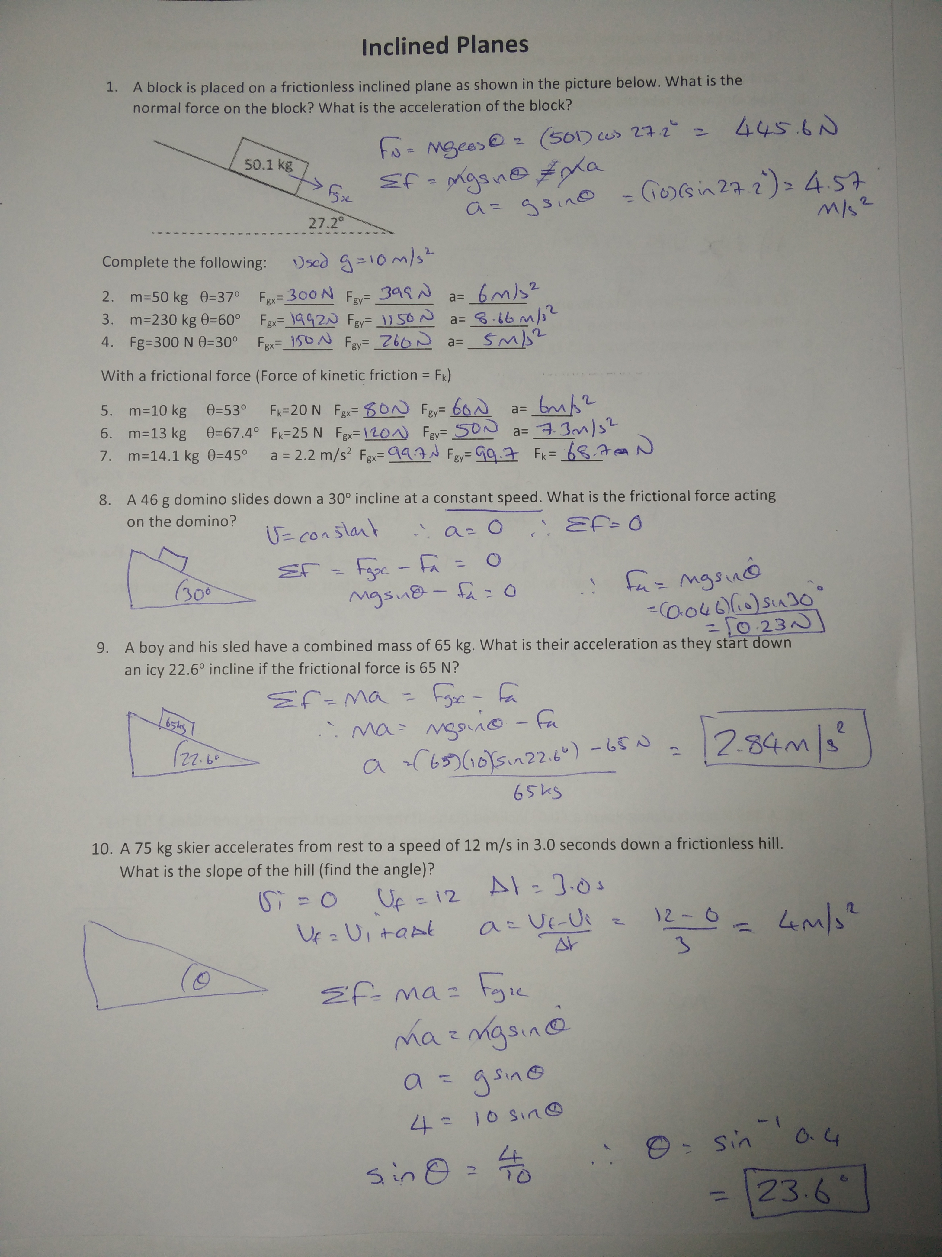M4 – Coefficient of Friction Worksheet