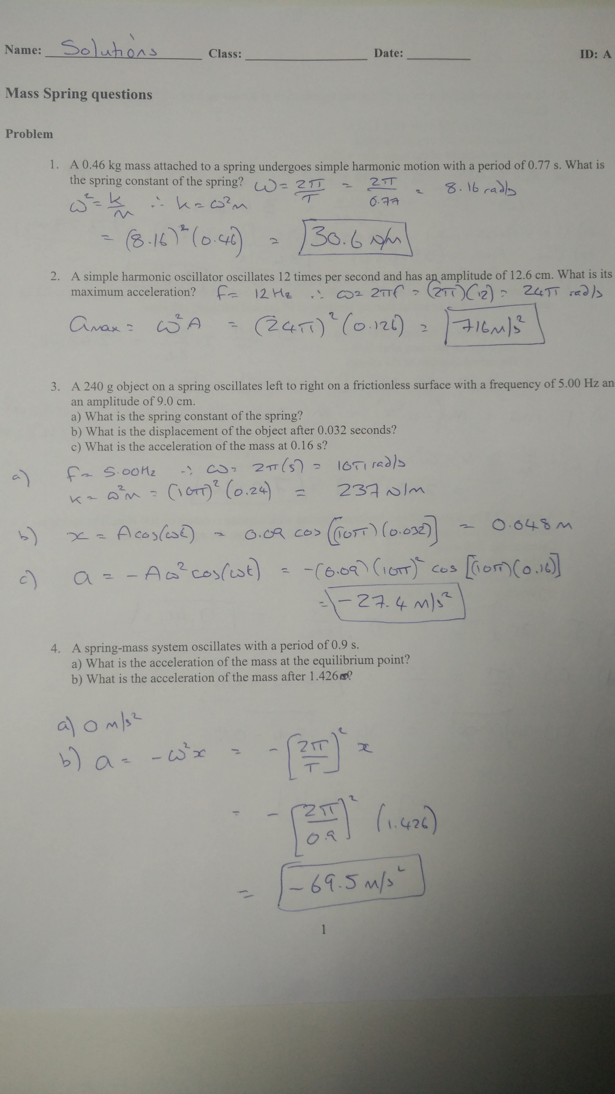 Worksheets Simple Harmonic Motion Worksheet simple harmonic motion physicsbcceip m5 homework solution