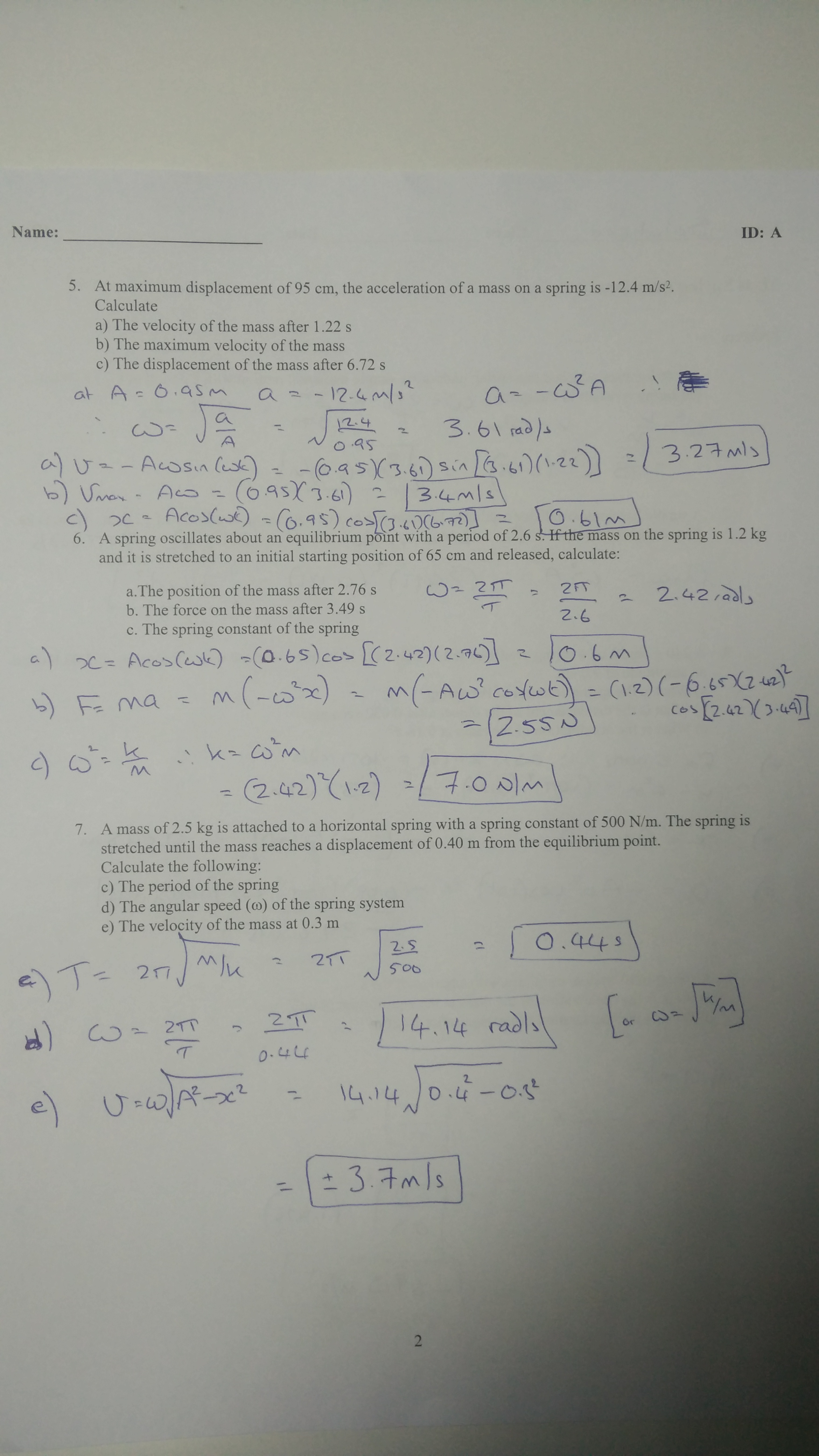 physics coursework spring constant