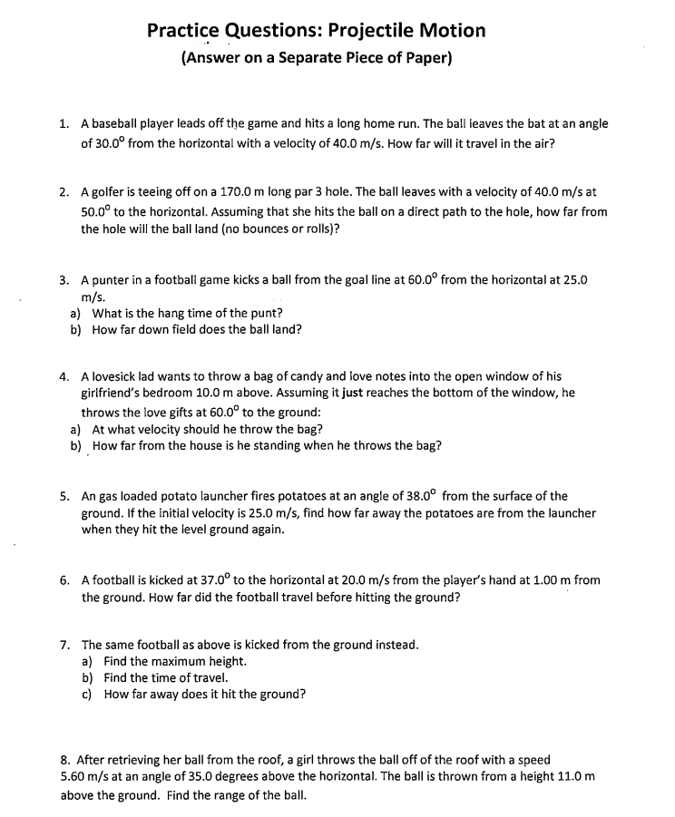 M4 – Projectile Motion Worksheet